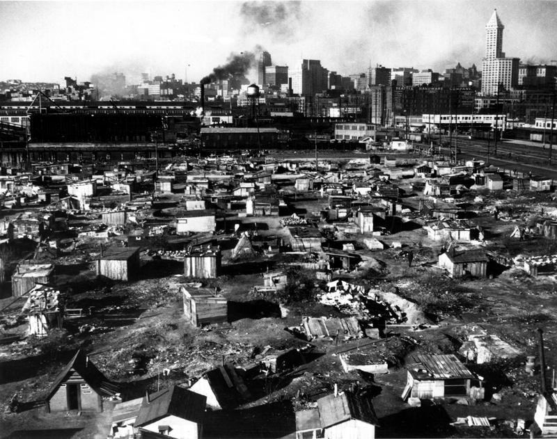 Hooverville in Seattle, Washington, during the Great Depression