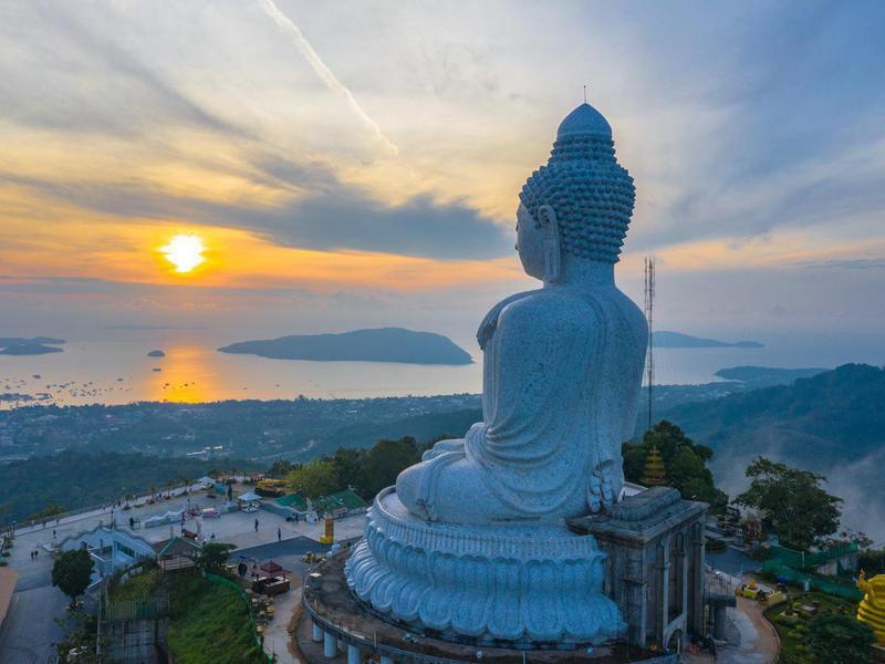 Aerial view of big Buddha in Phuket, Thailand