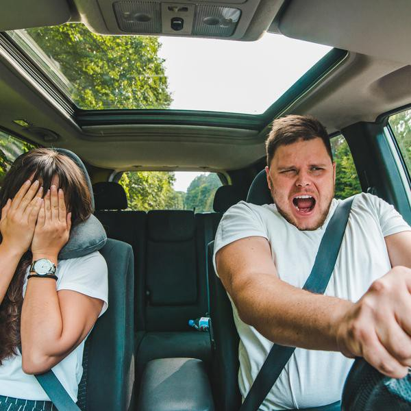 couple all most get car accident. not safe driving. insurance concept