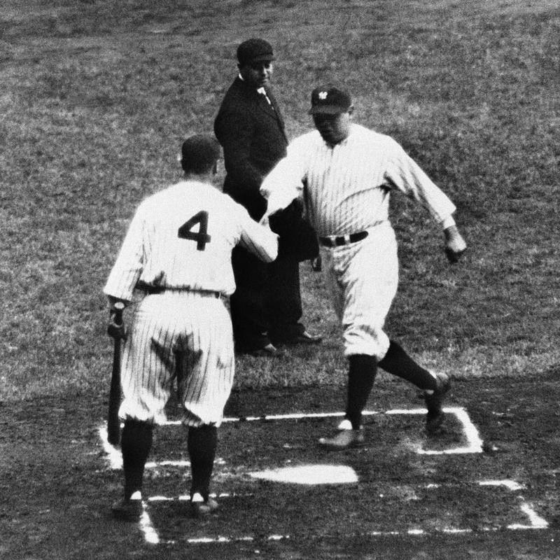 Lou Gehrig welcoming Babe Ruth