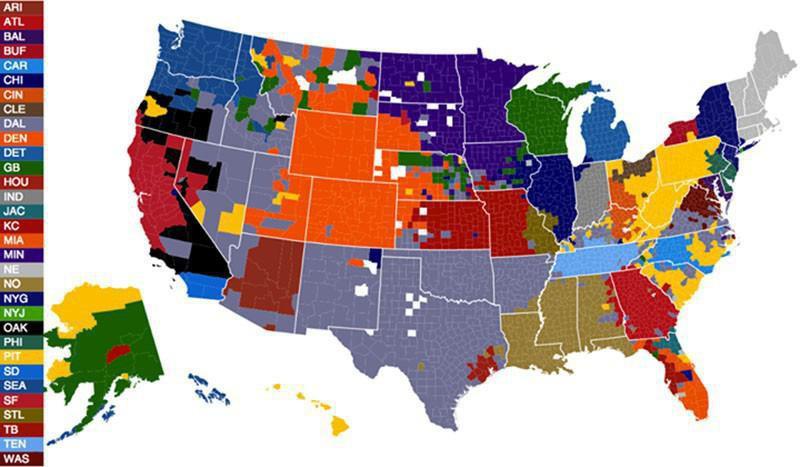 NFL fan map