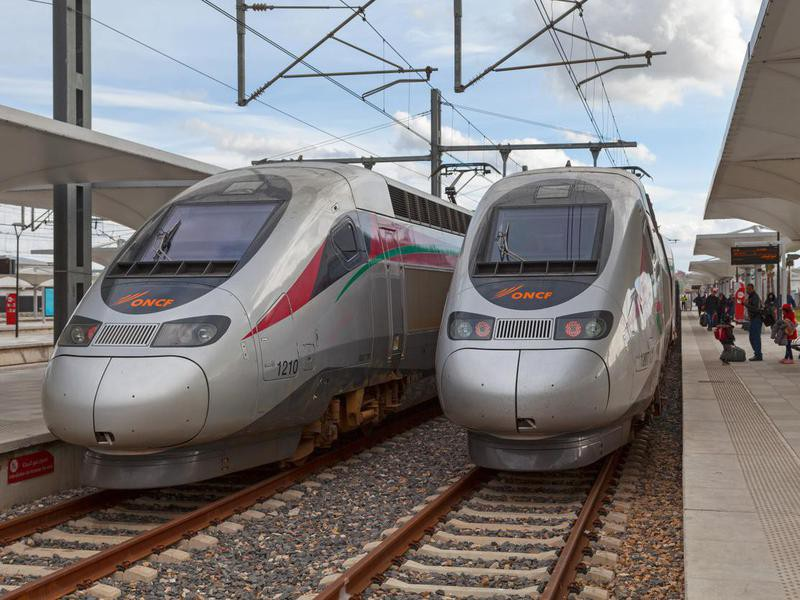 Two high-speed Al Boraq trains in Tangier