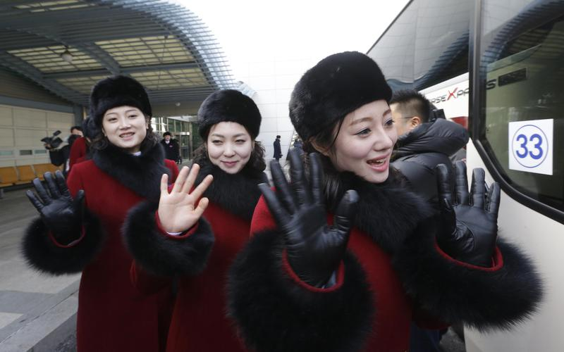 North Korean cheering squads
