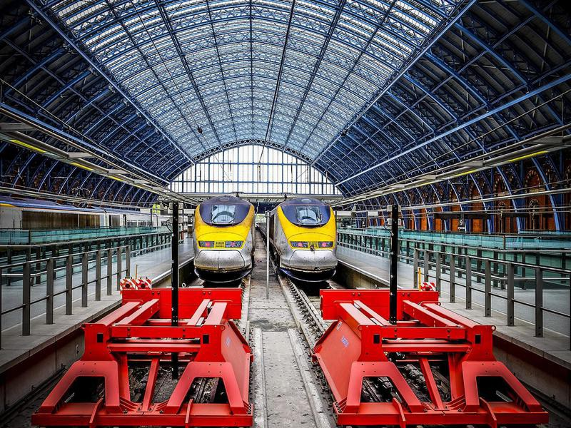 Eurostar trains at St. Pancras Station in London