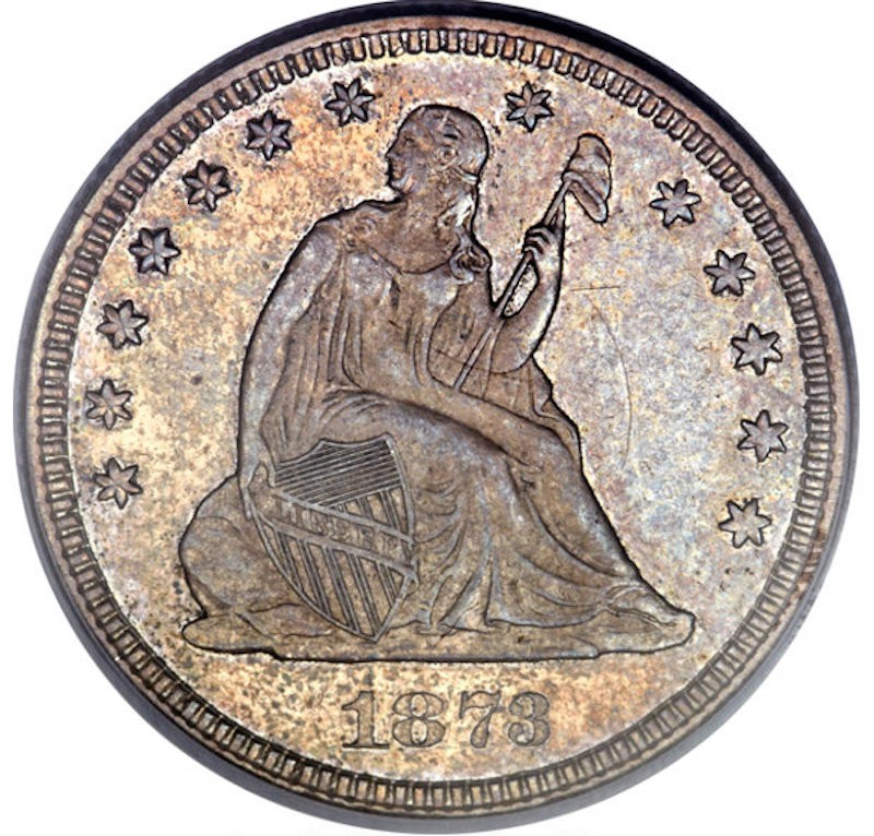 1873-CC No Arrows Liberty Seated Quarter