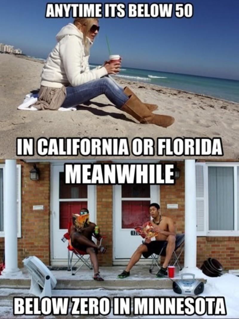 Minnesota shorts weather vs. California and Florida temperatures