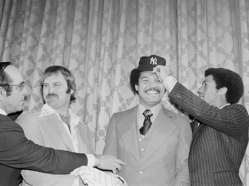 Reggie Jackson, Roy White, Thurman Munson, Yogi Berra