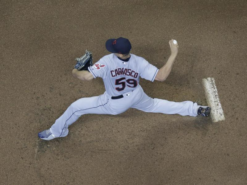 Cleveland Indians starting pitcher Carlos Carrasco throws