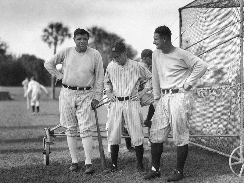 Babe Ruth, Miller Huggins, and Lou Gehrig