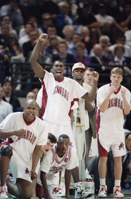 Arkansas bench cheers on team