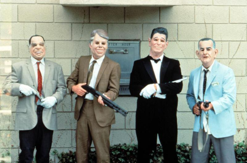 "In ""Point Break,"" Patrick Swayze co-stars as the leader of a surfer gang that moonlights as the Ex-Presidents – bank heist specialists wearing latex masks of former leaders of the free world."