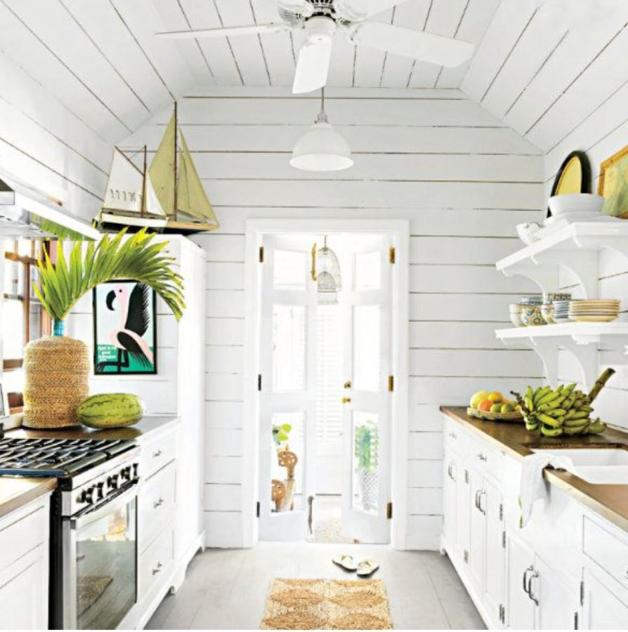 Small kitchen with shiplap