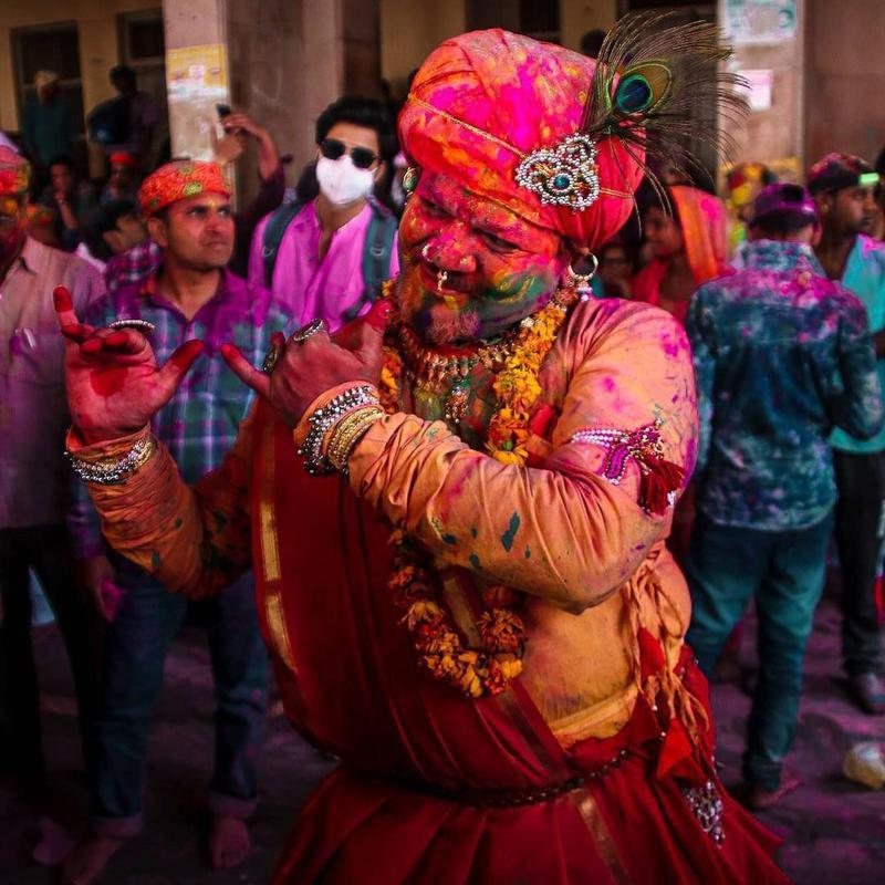 Man dancing during Holi