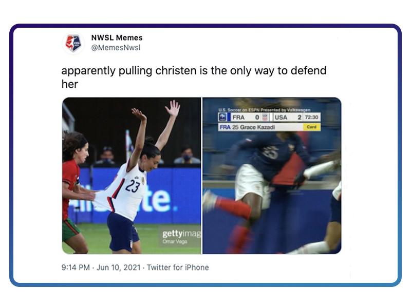 Players pulling Christen Press' jersey