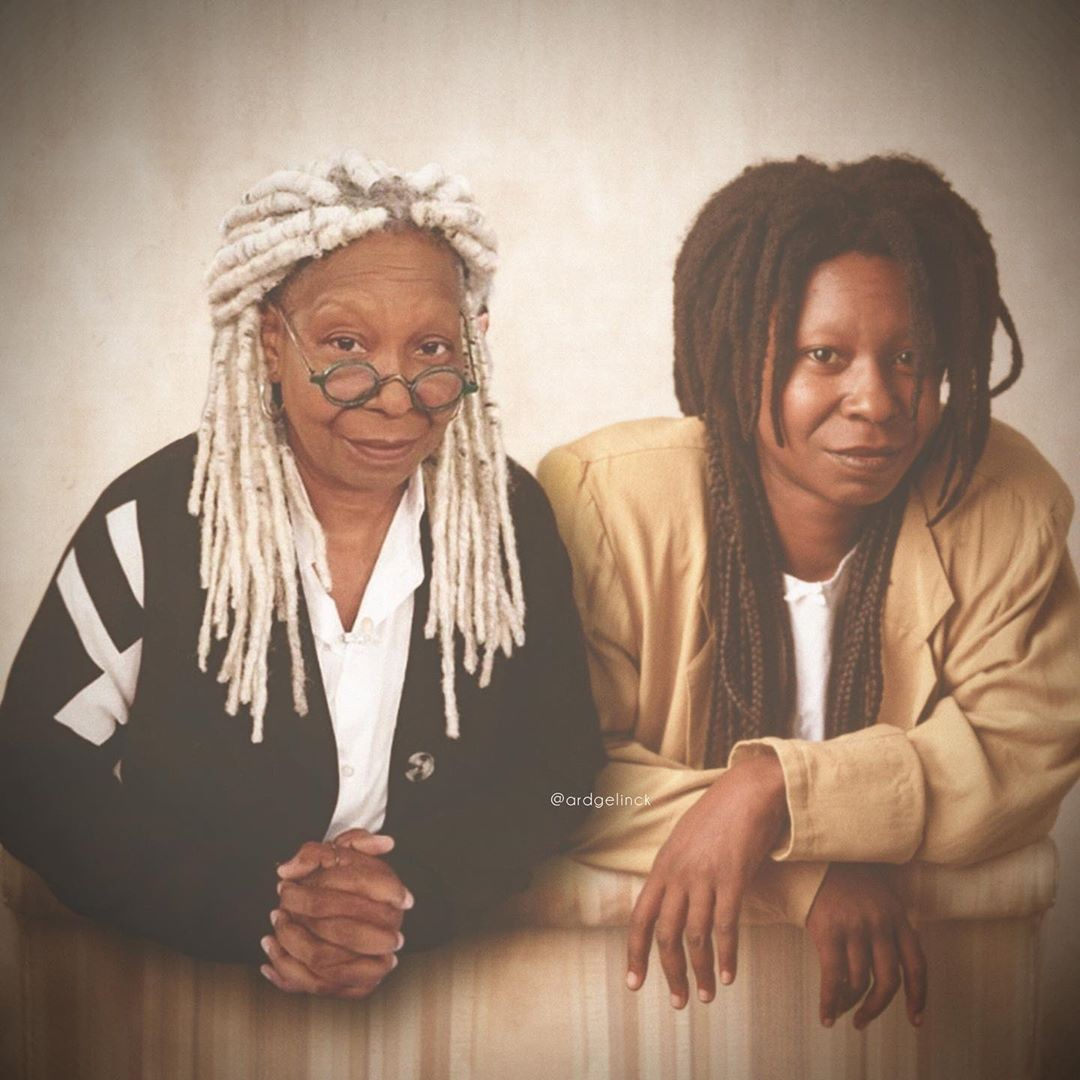 Whoopi Goldberg old and young