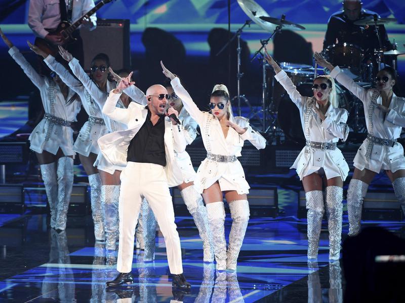 Pitbull performing at Latin Grammys