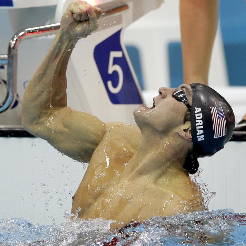 Nathan Adrian celebrates gold medal win
