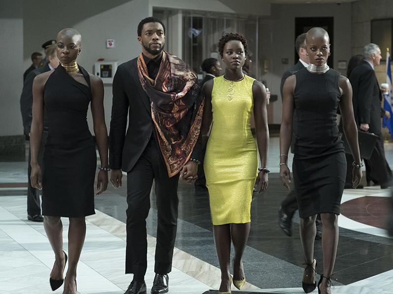 Florence Kasumba, Chadwick Boseman, Danai Gurira, and Lupita Nyong'o in Black Panther (2018)