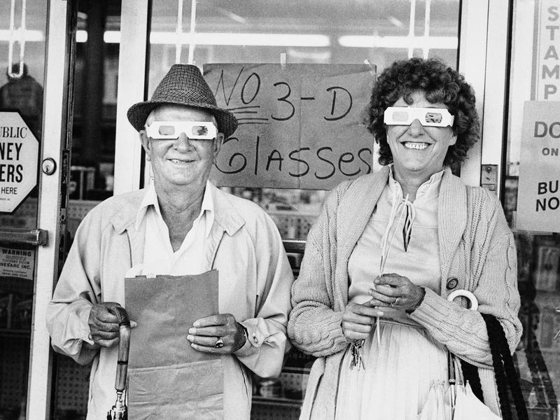"""Two New Orleans residents wear special glasses to see """"Revenge of the Creature,"""" the first commercial TV showing of a 3-D movie in the United States. """"Creature"""" marked Clint Eastwood's film debut."""
