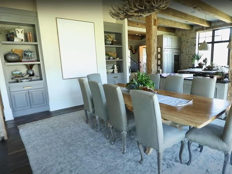 Large dining room with wooden table