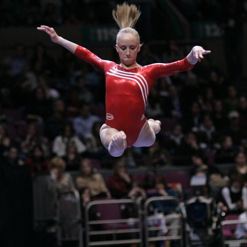 Nastia Liukin competes in balance beam event during American cup gymnastics competition