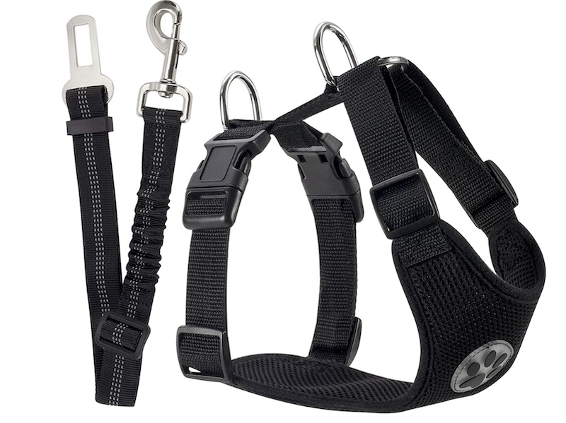 Dog safety harness with seat belt for car