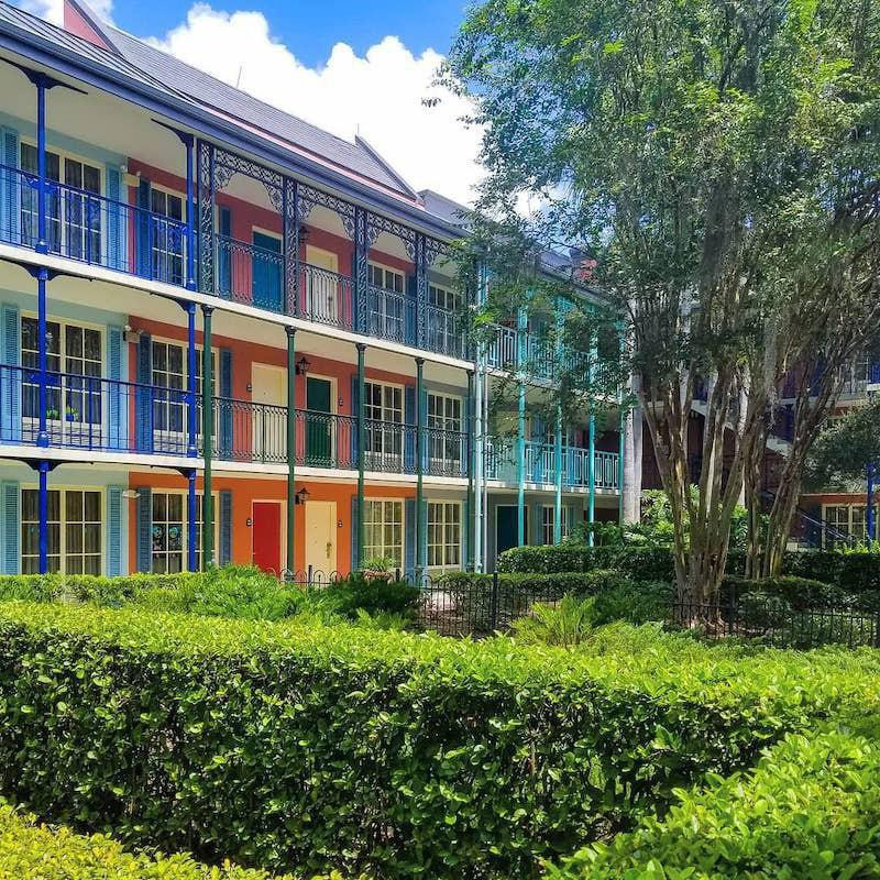 Courtyard view of Disney's Port Orleans Resort - French Quarter