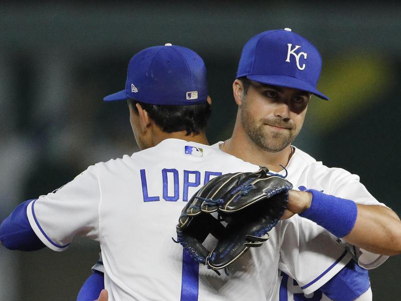 Kansas City Royals Nicky Lopez and Whit Merrifield