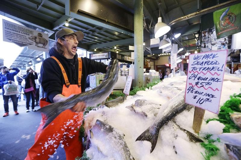 Throwing fish in Pike Place in Seattle