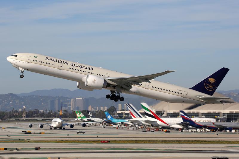 Saudia plane taking off