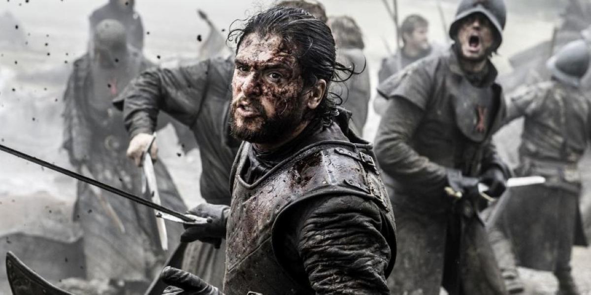 Jon Snow brandishing a sword