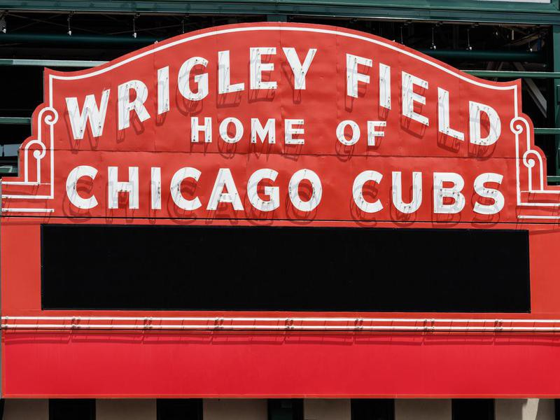Wrigley Field sign in Chicago