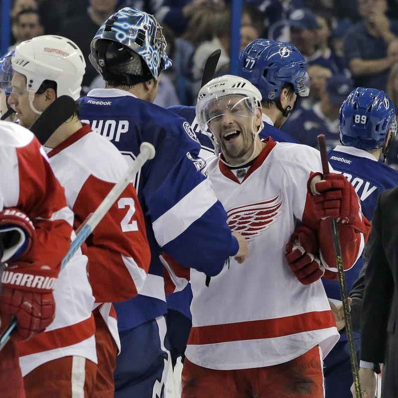Pavel Datsyuk of the Detroit Red Wings in handshake line with Tampa Bay Lightning
