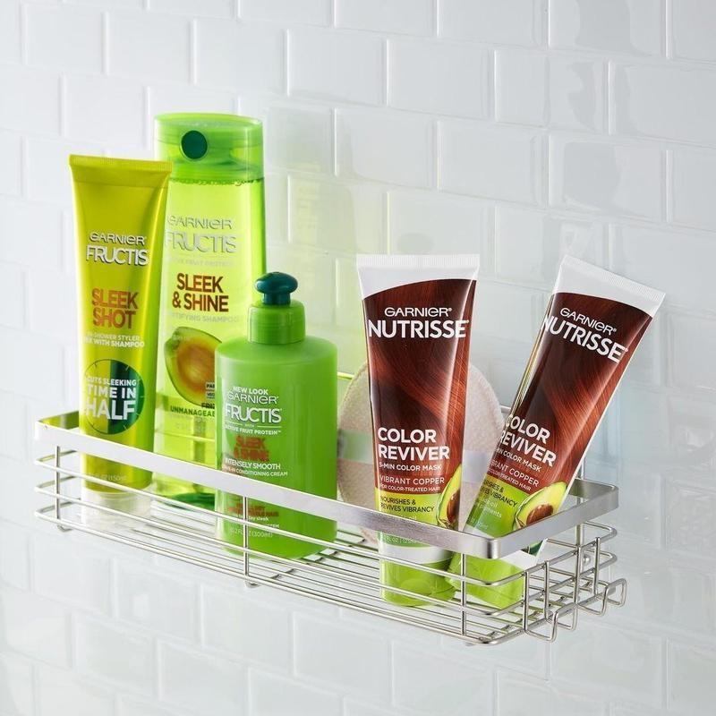 Garnier products in a shower caddy
