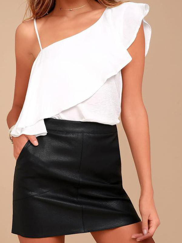 Harley Black Vegan Leather Y2K Mini Skirt