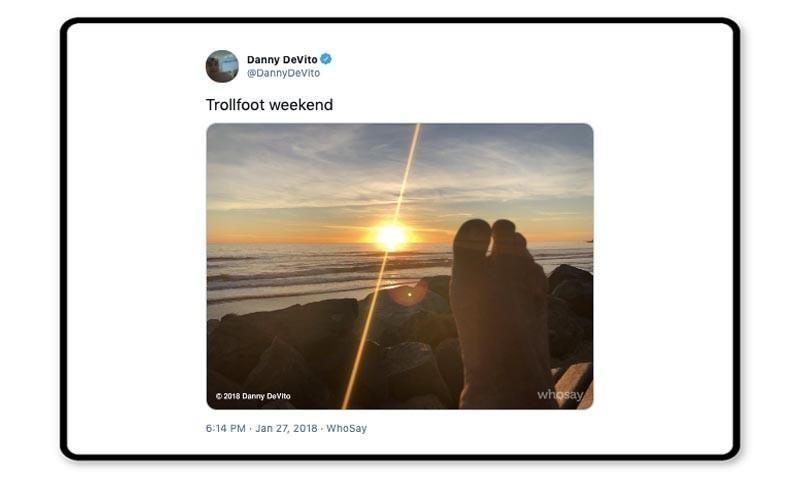 Danny DeVito tweet making fun of his foot
