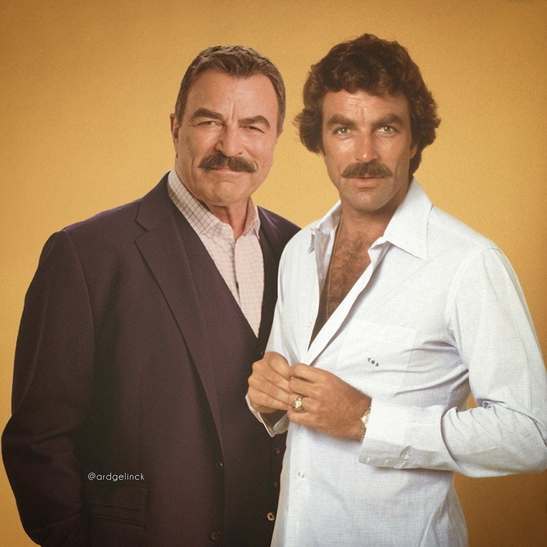 Tom Selleck young and old