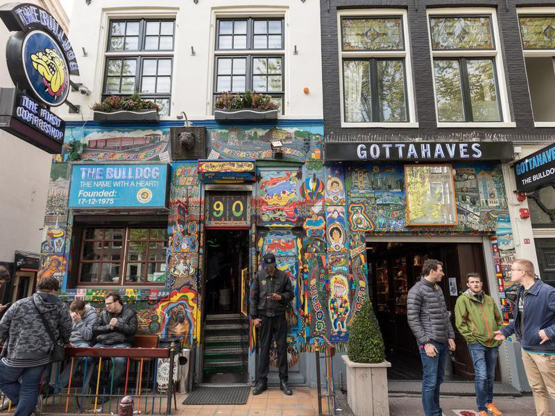 The Bulldog coffee shop in the Red Light District of Amsterdam, Holland, the Netherlands