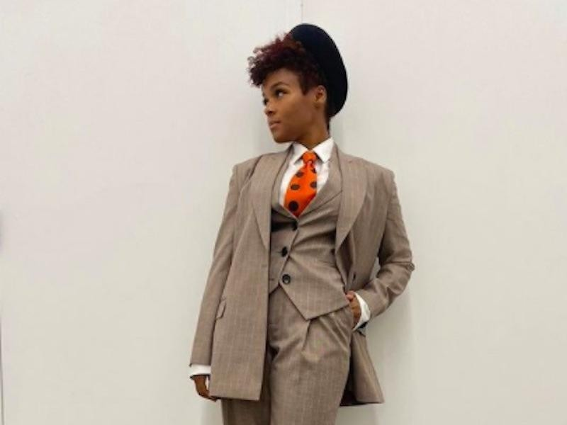 Janelle Monáe in a voting outfit