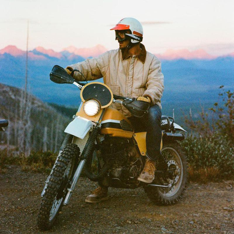 Alex Strohl on motorcycle