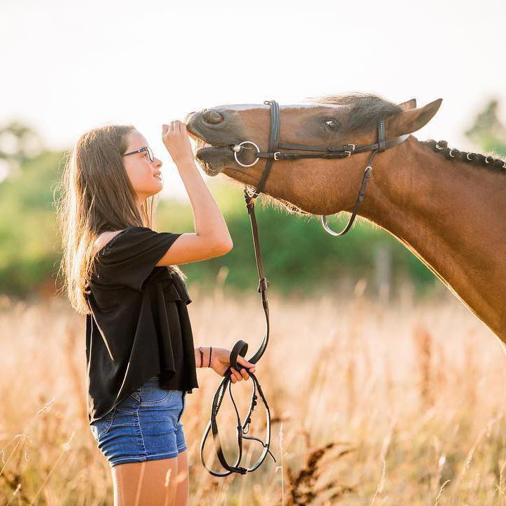 Girl Feeding Smiling Horse