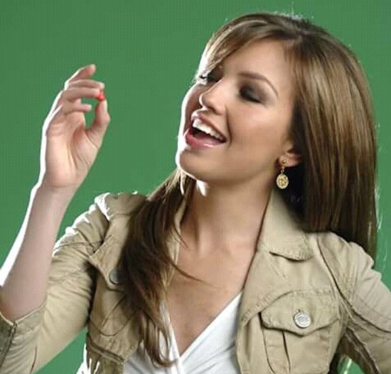 Thalia on set for for Hershey's Kissables commercial in 2005