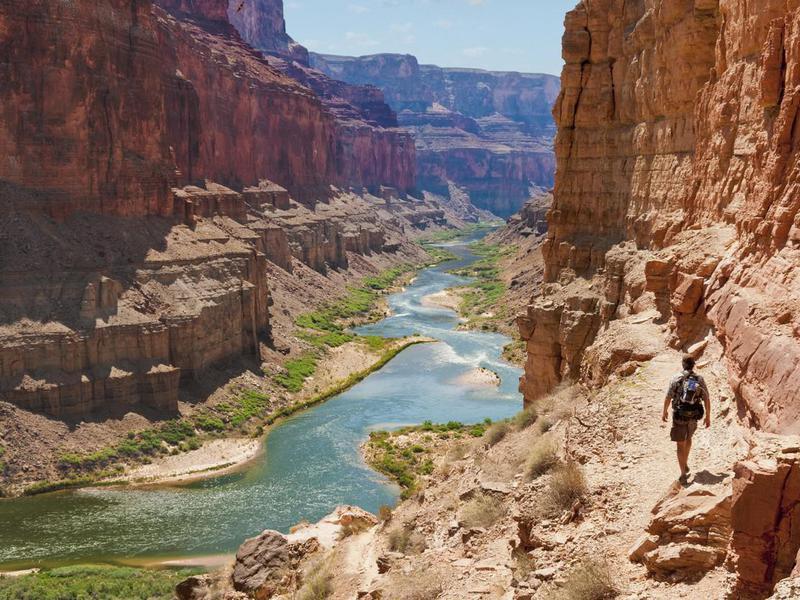 Man hiking the Grand Canyon