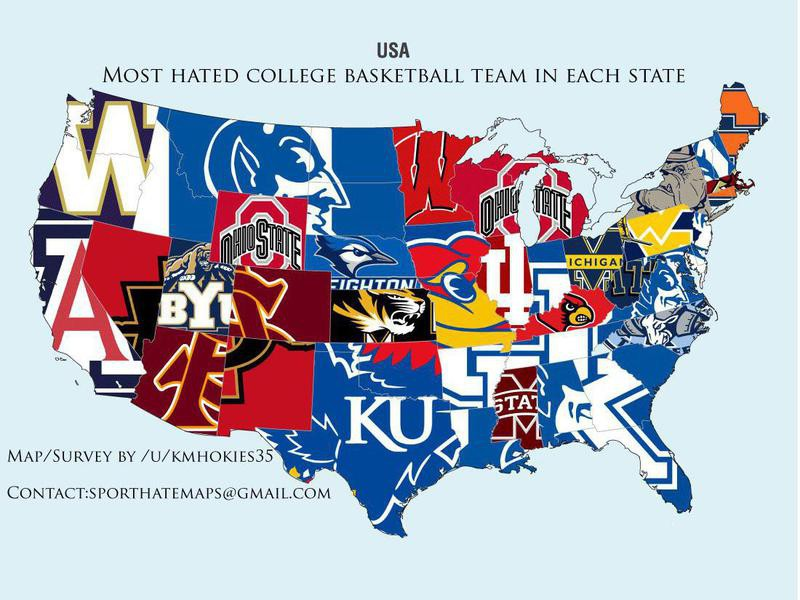 College basketball hate map