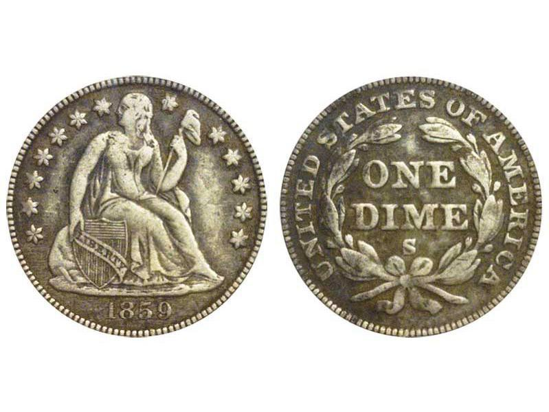1859 S Seated Liberty Dime
