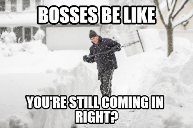 Snow shoveling out of a blizzard