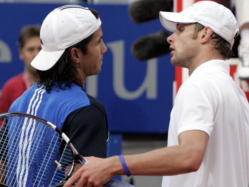 Andy Roddick congratulates Fernando Verdasco at Rome Masters