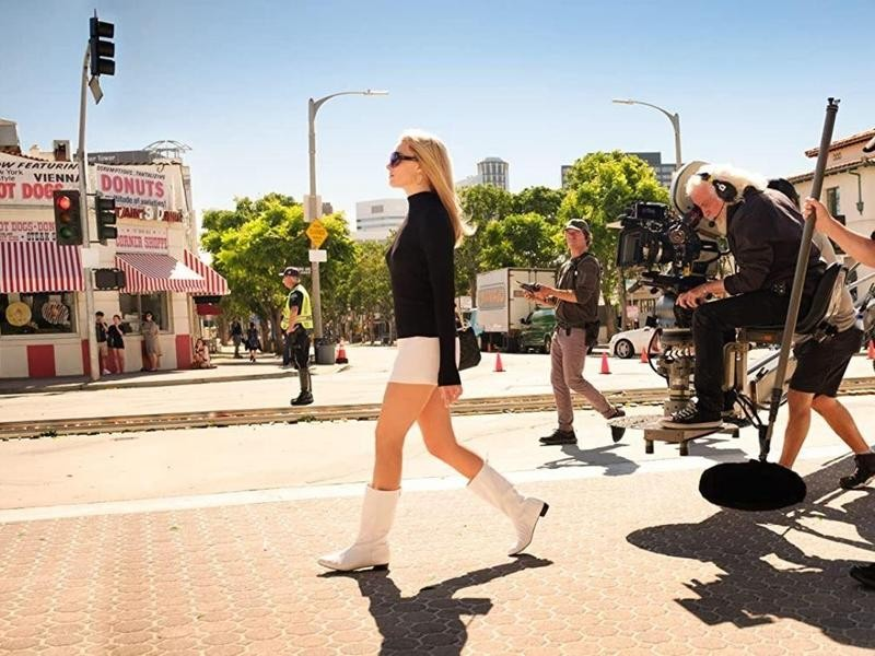Margot Robbie while filming Once Upon a Time in Hollywood