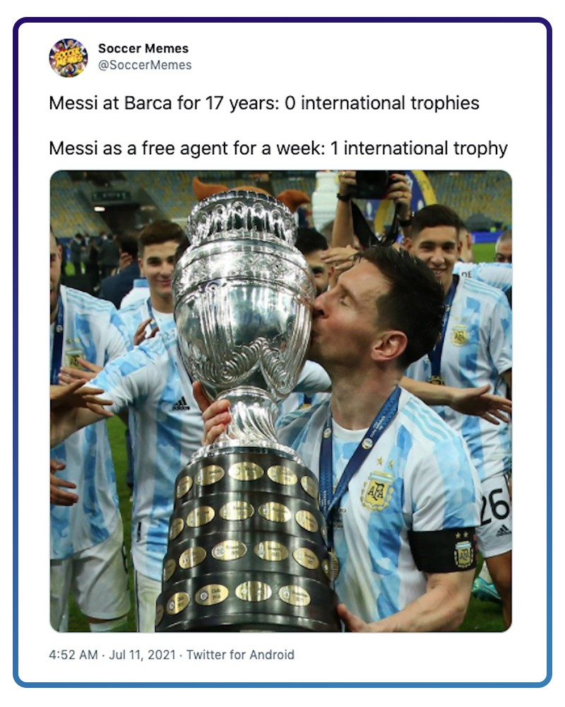 Messi kissing trophy