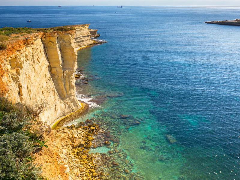 Cliffs near Marsaxlokk, Malta